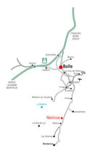 Plan d'accès depuis l'autoroute (canton de Fribourg)